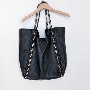 Pebbled Black Tote Bag with Chain Braided Straps